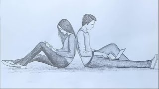 How to draw a boy and a girl sitting back to back / pencil sketch