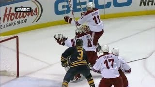 Smith scores on himself with puck in pants