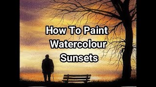 How To Paint A Simple Watercolour Sunset, Using Pen & Wash