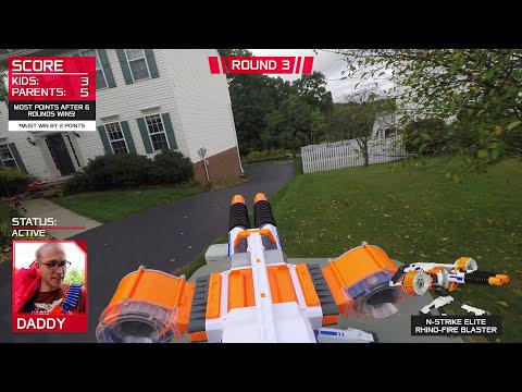 Nerf War:  Parents vs Kids