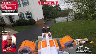 Nerf War:  Parents take on Kids!