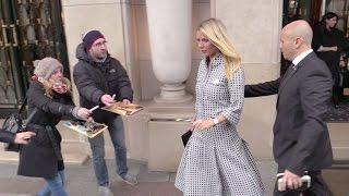 EXCLUSIVE - Gwyneth Paltrow getting out of the George V Palace in Paris