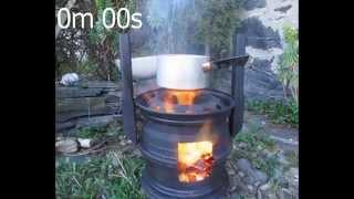 Wheel Rim Wood Stove - boiling water 6m 30s
