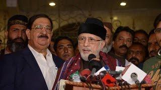 Dr Tahir-ul-Qadri talking to media in Karachi