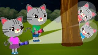 Hero Kitten Daddy Helps to Find Children's Lost Ball. Cats Cartoon Series