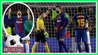 Barcelona crushed Olympiakos despite playing half with 10 men after Gerard Pique's red card.