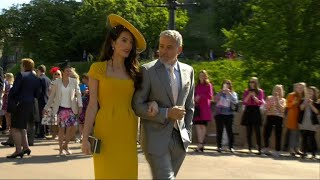 Amal and George Clooney, Victoria and David Beckham arrive for royal wedding