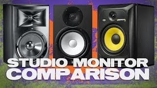 Studio Monitor Comparison featuring JBL LSR308, KRK RP8G3 and, Yamaha HS8
