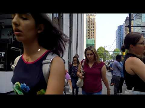Downtown Vancouver Canada Summer Tour Walking Around Financial Business District Lunch Hour