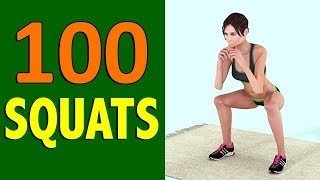 100 Squats Challenge [Round Butt + Burn Fat + Toned Legs] - How Many Squats Can You Do?