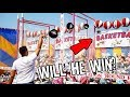 PRO Basketball Player VS Rigged Carnival Game. Will He Win?? ArcadeJackpotPro
