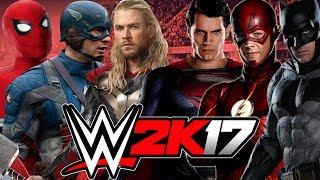 SpiderMan, Thor and Captain America vs  Batman, Superman and The Flash   MARVEL VS DC   WWE 2K17