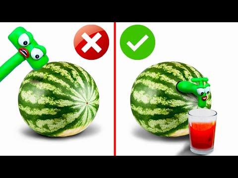 PEA PEA Watermelon Life Hacks Stop Motion Play Doh Cartoons