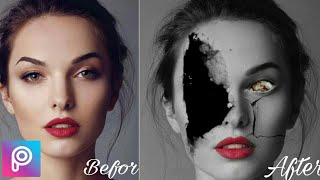 Picsart |how to make a zombie effect /how to make a crack face
