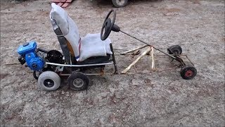Homemade go-kart with a simple manual clutch system