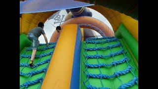Children Playing In The Park With Trampoline Roundabouts Slides by JeannetChannel