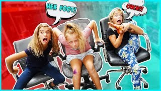 AYDAH GETS HURT DURING THE OFFICE CHAIR RACING CHALLENGE!!