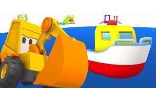 Excavator Max & a boat. Kids games with Surprise egg.