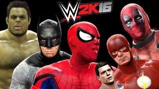 Superman vs Spiderman vs Deadpool vs Hulk vs Batman vs Flash - WWE 2K16