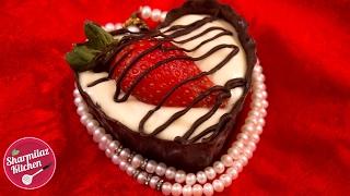 Sweet Yogurt Mousse In Chocolate Heart Cup - Valentine's Day Dessert Recipe - Sharmilazkitchen