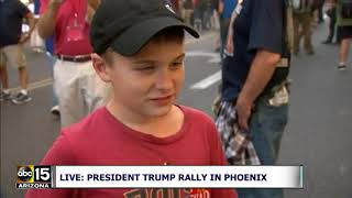 I LOVE TRUMP! Boy says why he supports the President at Phoenix rally