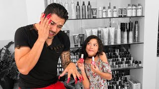 MY DAD GETS ACRYLIC NAILS (First Time) | Familia Diamond