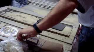 Handmade Portuguese tiles being made