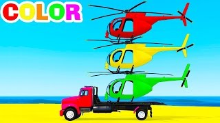 Learn COLOR HELICOPTER on Truck Spiderman Cars Cartoon for Kids & Nursery Rhyme for children