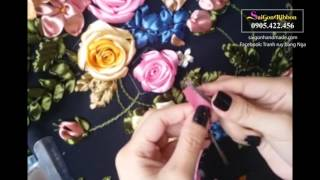 Hướng dẫn thêu hoa hồng ruy băng phần 01