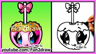 Cute Candy Apple How To Draw Halloween Pictures Easy Food