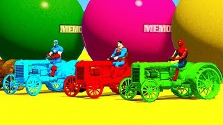 LEARN COLORS Tractor with BALLS and Spiderman - Superheroes Cars Cartoon for kids Babies