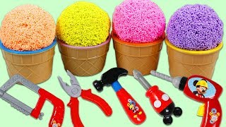 Play Foam Surprise Ice Cream Cups Opening with Disney Mickey Mouse Tools!