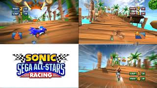 Sonic & Sega all Star Racing 4 player split screen is this incredible or what?