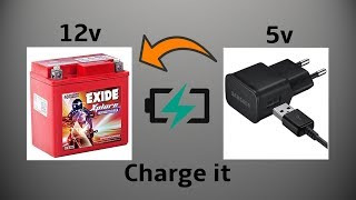 How to Charge 12volt Bike Battery with 5volt Mobile Phone Charger