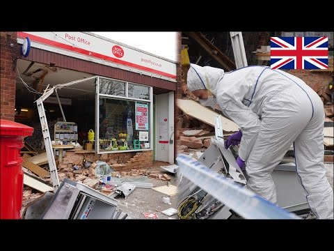 JCB crashes into building for a cash machine robbery - Police crime scene + recovery