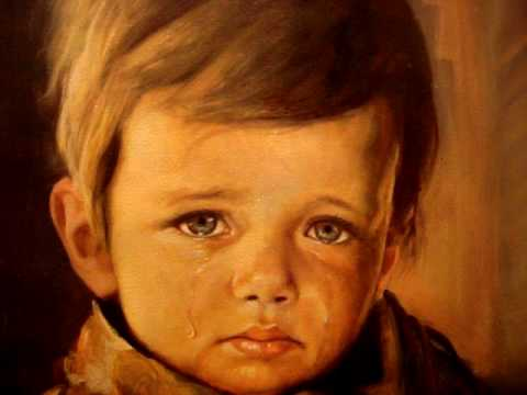 Scary Crying Boy GHOST CURSE.  Most haunting painting; real freaky horror after death..