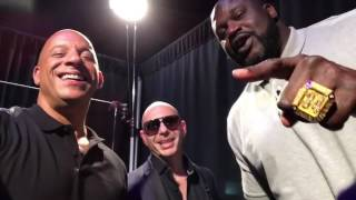 Vin Diesel with pitbull and Shaquille O'Neal
