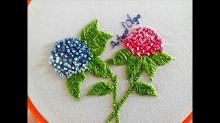 Hydrangea Flower Embroidery | Hortensias Bordadas a Mano | Hand Embroidery Tutorial by Artesd'Olga
