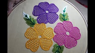 Hand Embroidery Designs | Net stitch design for cushion cover | Stitch and Flower-157