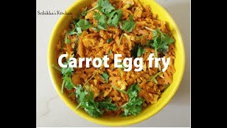Easy & Tasty Carrot Egg fry Recipe in Telugu(with English subtitles) | Side dish for Chapathi |