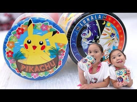 精靈寶可夢的圓鐵盒餅乾 我們把神奇寶貝都放在裡面了 二代精靈 皮卡丘 太陽與月亮 pokemon  Sunny Yummy running toys 跟玩具開箱