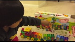 Kid playing with toys Lego Duplo Number Train Toy Review , Unbox, Build