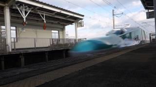 東北新幹線 くりこま高原 ローアングル迫力通過 E5系E3系はやてこまち