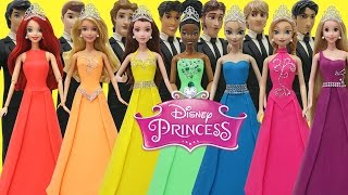 Play Doh  Disney Prince and Princess Elsa Anna Ariel Tiana Aurora Belle Rapunzel Prom Outfits