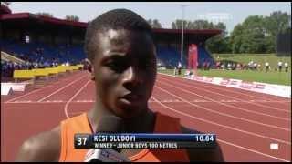 *** New UK Record *** Kesi Oludoyi *** Junior Boys 100m Final - ESAA Champs 2013
