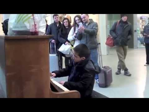 11 year old George plays Waldstein Piano Sonata No.21 1st movt. on a Street Piano