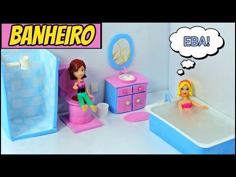como fazer BANHEIRO para boneca( vaso sanitário,box,chuveiro,banheira, lavatório e espelho.
