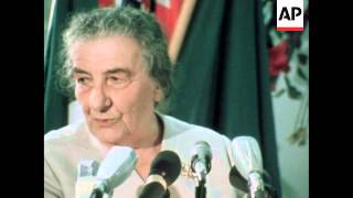 ISRAELI PRIME MINISTER GOLDA MEIR SPEAKING AT MEETING OF WOMEN JOURNALISTS AND WRITERS