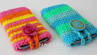 Download DIY Tutorial - How to Crochet Easy Mobile Cell Phone Pouch Case Cover Holder for iPhone iPod Samsung 3Gp Mp4