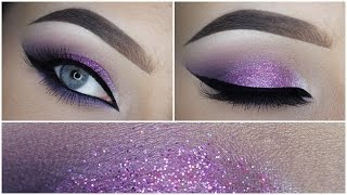 Easy purple eyeshadow makeup tutorial + Glitter